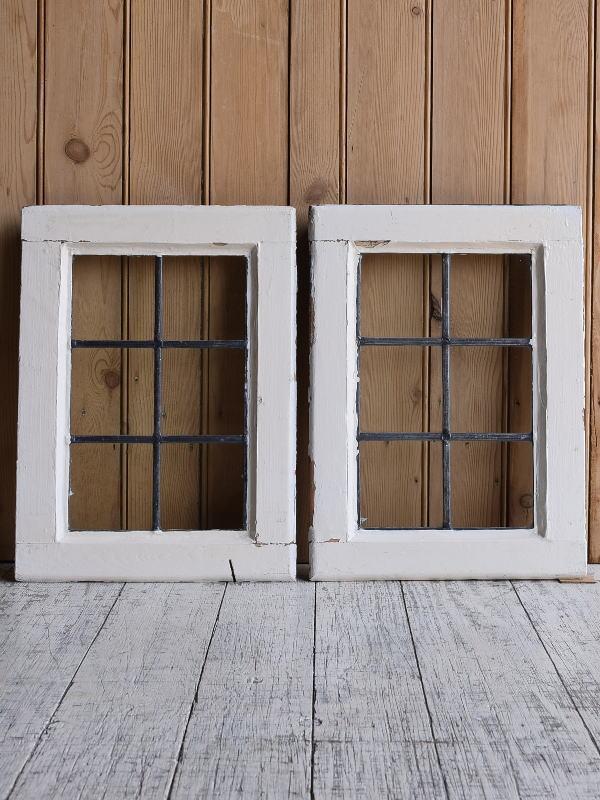 イギリス アンティーク 窓×2 無色透明 9633