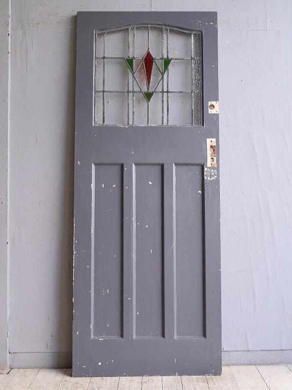 イギリス アンティーク ステンドグラス入り木製ドア 扉 建具 9780