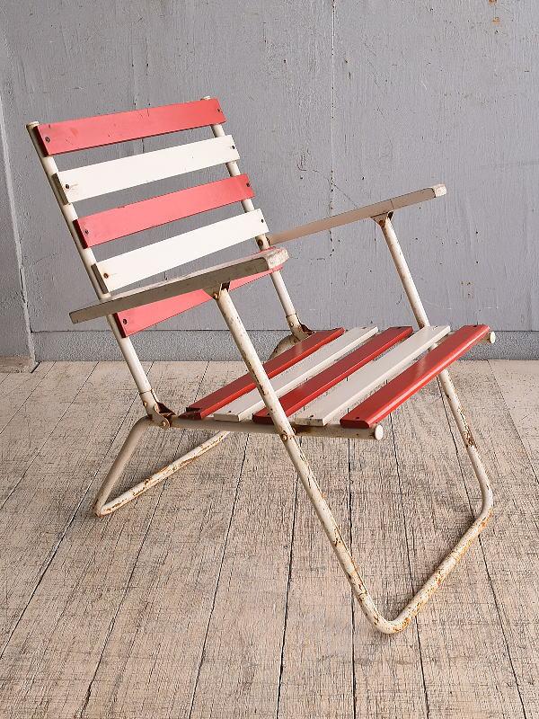 フレンチ アンティーク フォールディングデッキチェア 椅子 9798
