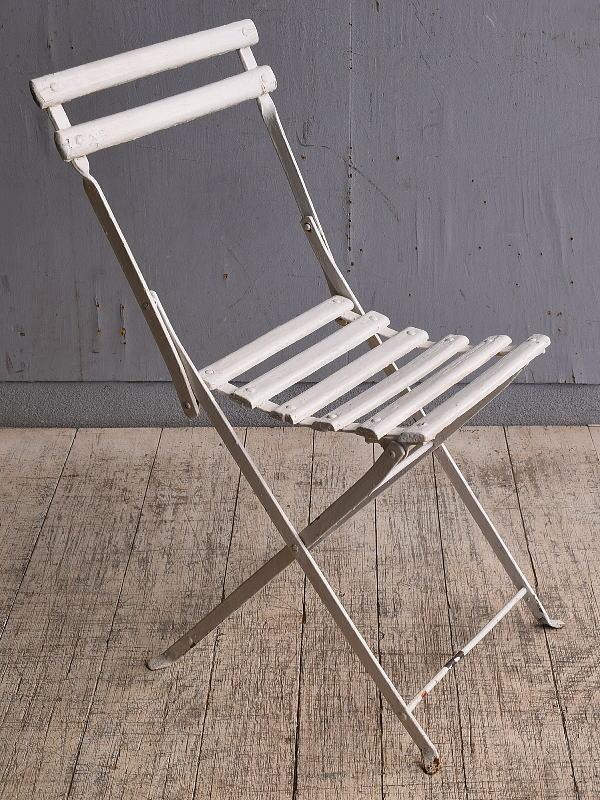フレンチ アンティーク フォールディング ガーデンチェア 椅子 9810