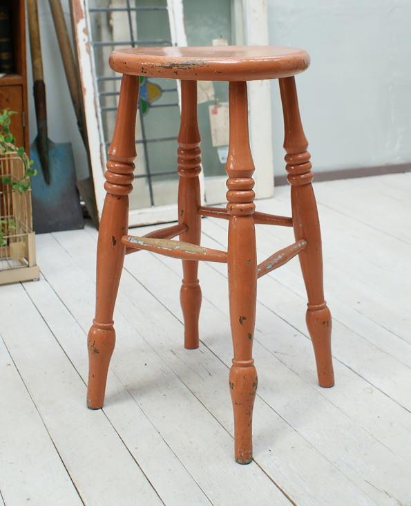 イギリス アンティーク家具 ペイントハイスツール 椅子 1004