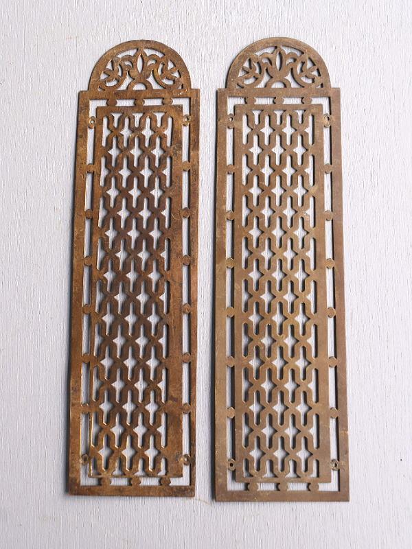 イギリス アンティーク 真鍮フィンガープレート ドアプレート×2  10111