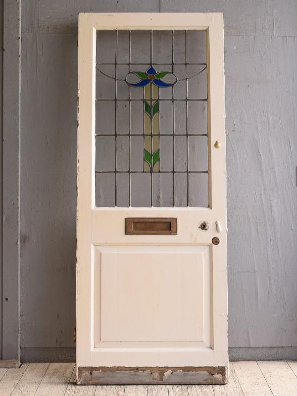 イギリス アンティーク ステンドグラス入り木製ドア 扉 建具 10155