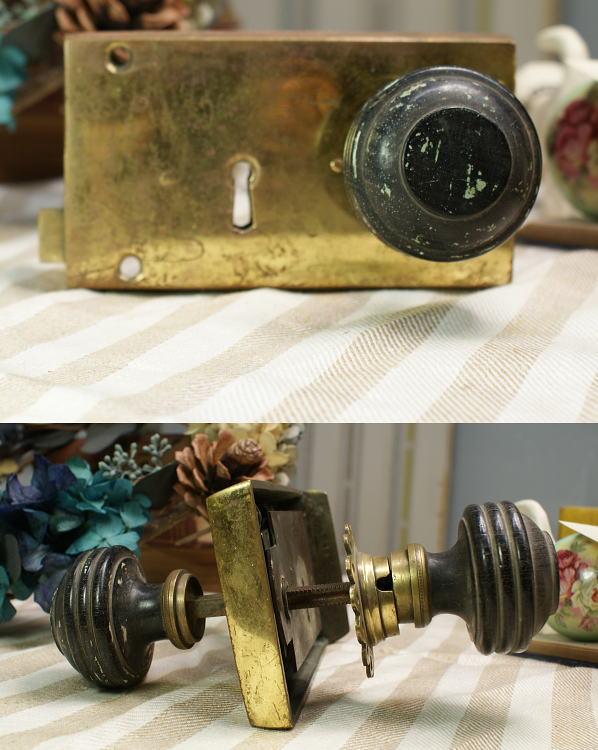 イギリス アンティーク ラッチ&木製ドアノブ 建具金物 1022