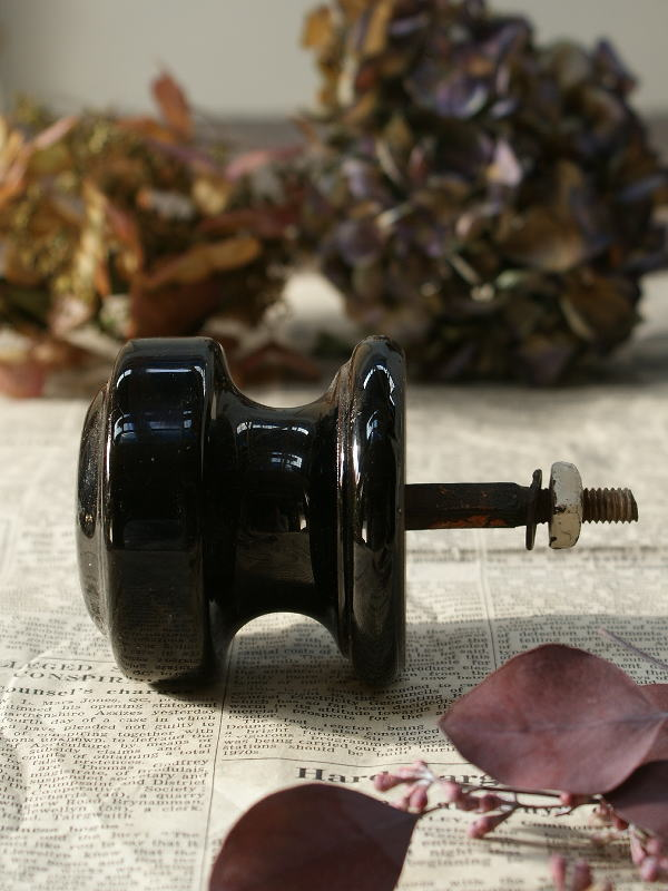 イギリス アンティーク ビクトリアン 陶器製ドアノブ 取っ手1216