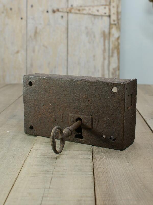 イギリス アンティーク 鉄製 錠前 シャビー 1366