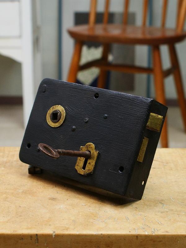 イギリス アンティーク ラッチ錠 鍵付き 建具金物 1725