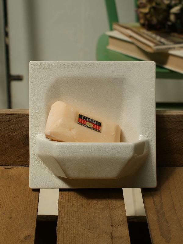 フレンチ アンティーク 陶器製 壁付け ソープディッシュ1827