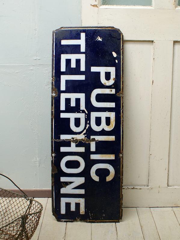 イギリス アンティーク ホーロー看板 PUBLIC TELLEPHONE 1878