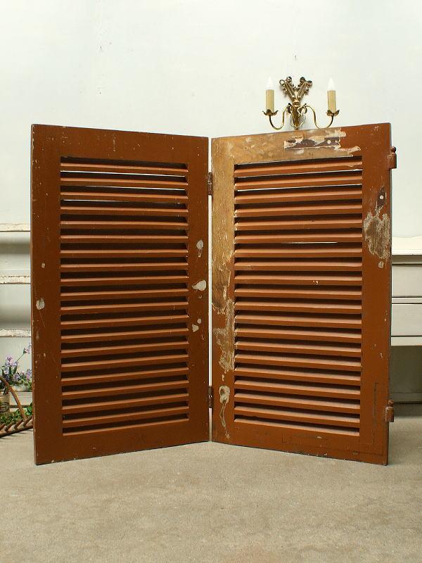 フレンチ アンティーク 木製ルーバー2枚 建築資材 雨戸 窓 2207