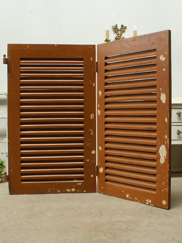 フレンチ アンティーク 木製ルーバー2枚 建築資材 雨戸 窓 2208