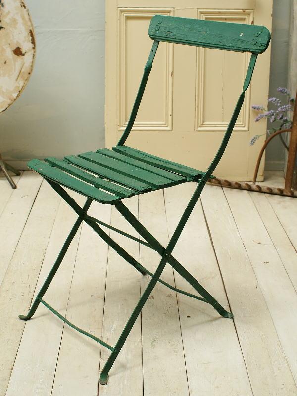 フレンチ アンティーク フォールディング ガーデンチェア 椅子 ガーデニング 2266