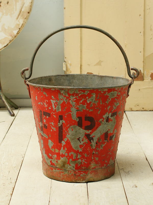 イギリス アンティーク FIREバケツ シャビー 収納 ガーデン 2276