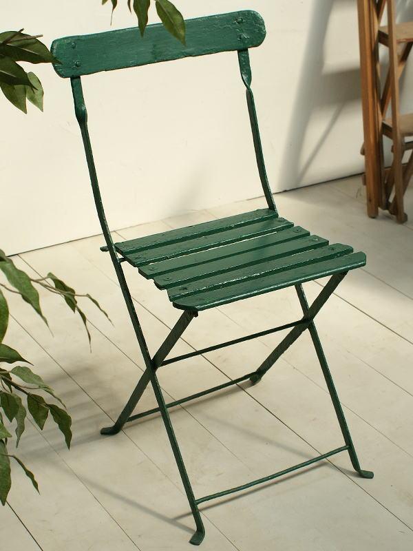 フレンチ アンティーク フォールディング ガーデンチェア 椅子 ガーデニング 2429