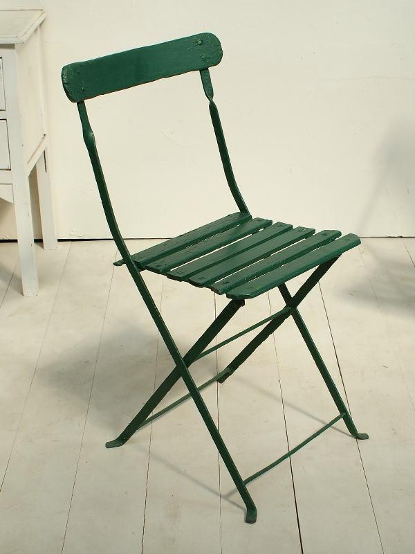 フレンチ アンティーク フォールディング ガーデンチェア 椅子 ガーデニング 2430
