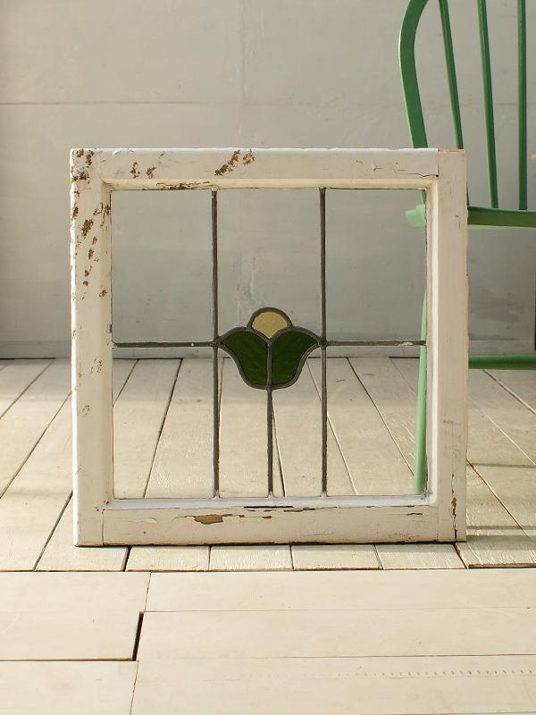 イギリス アンティーク ステンドグラス 窓枠 ディスプレイ 2672