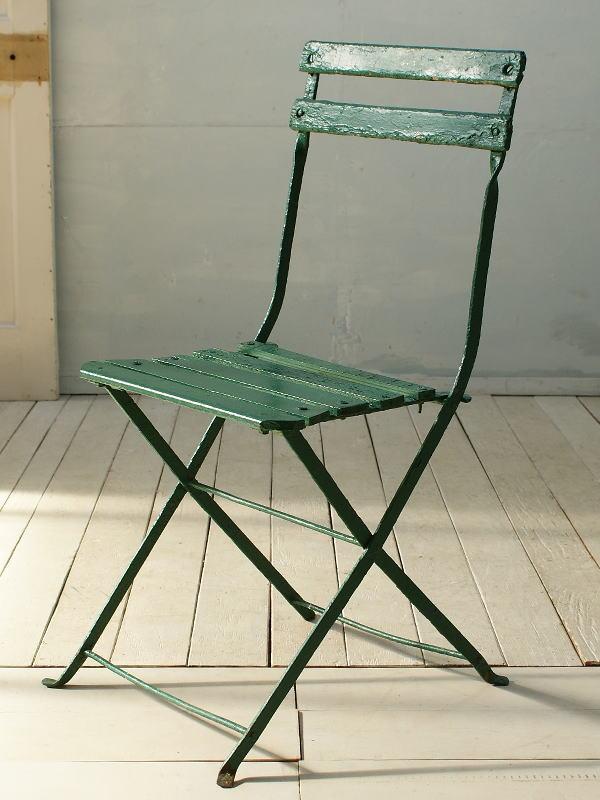 フレンチ アンティーク フォールディング ガーデンチェア 椅子 ガーデニング 2686