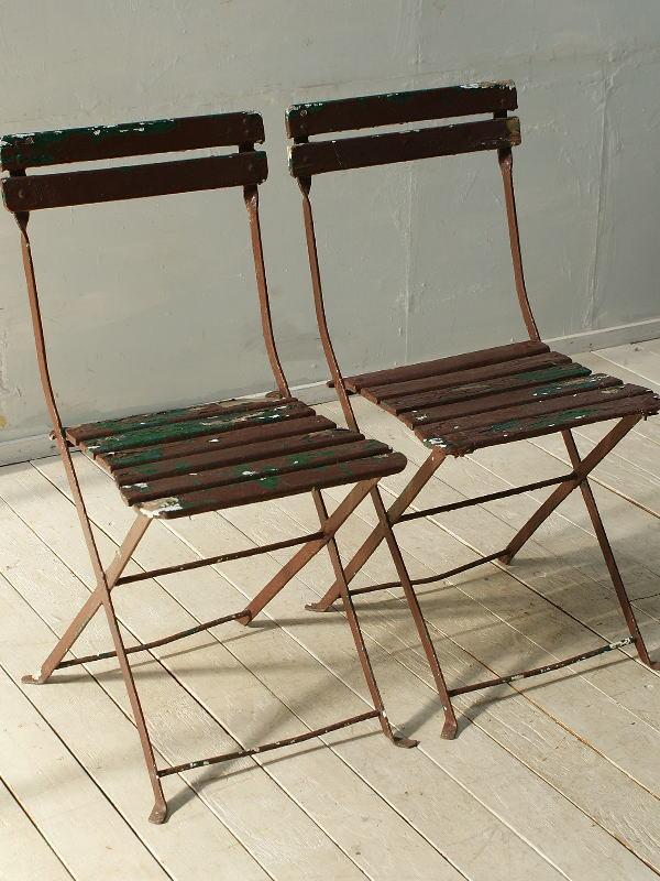 フレンチ アンティーク フォールディング ガーデンチェア2脚 椅子 ガーデニング 2691