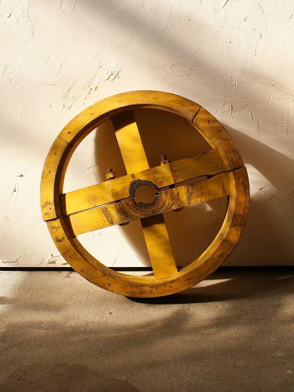 イギリス アンティーク 木製 車輪 ガーデンオーナメント 2797