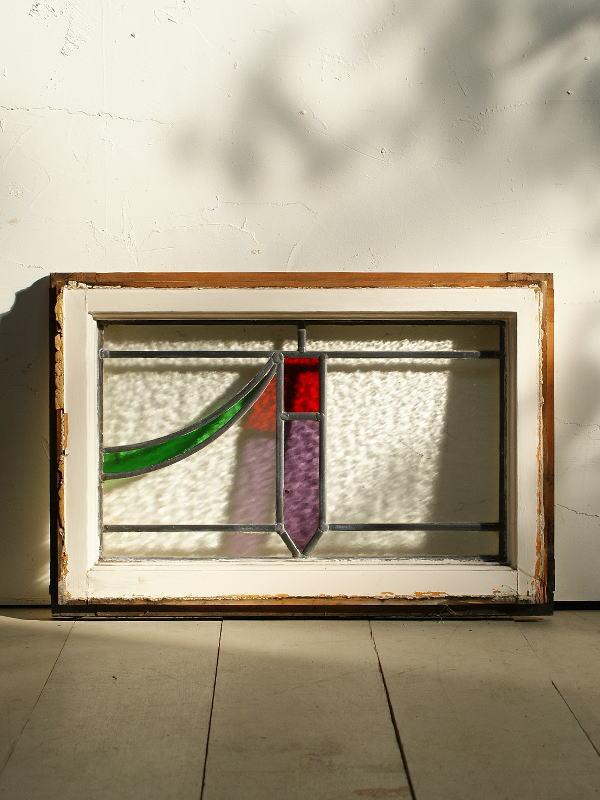 イギリス アンティーク ステンドグラス 窓枠 ディスプレイ 2840