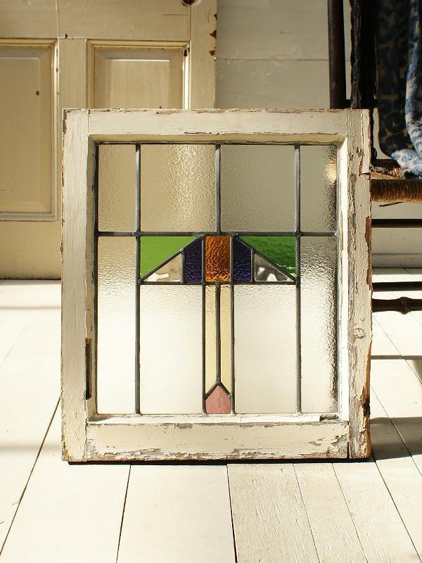 イギリス アンティーク ステンドグラス 幾何学 2869