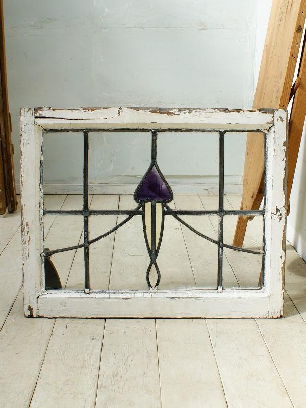イギリス アンティーク ステンドグラス 幾何学 4350