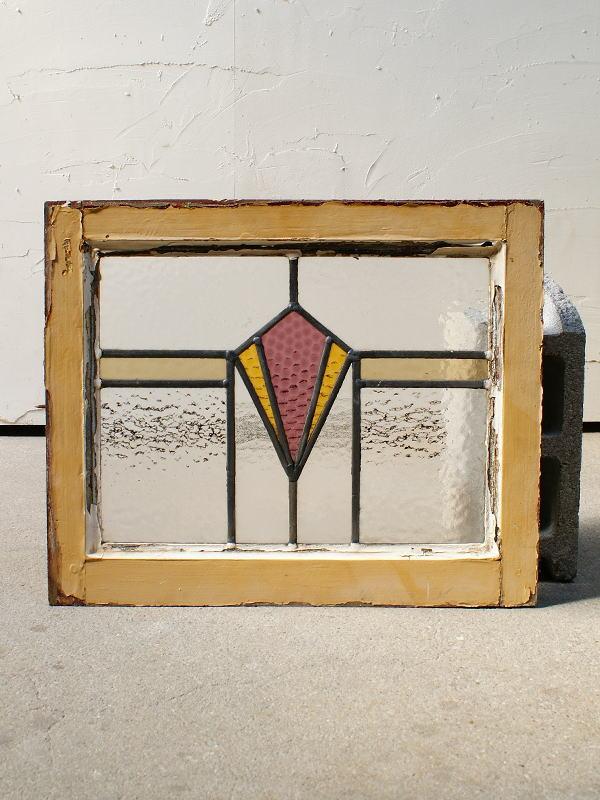 イギリス アンティーク ステンドグラス 幾何学 4358
