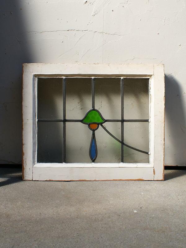 イギリス アンティーク ステンドグラス 窓枠 ディスプレイ 4380