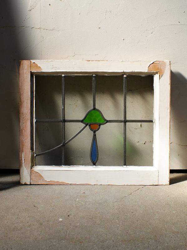 イギリス アンティーク ステンドグラス 窓枠 ディスプレイ 4381