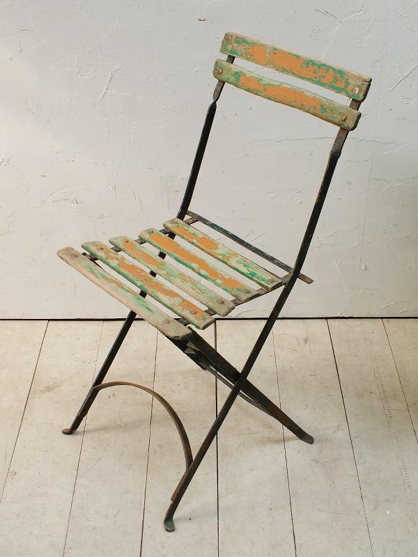 フレンチ アンティーク フォールディング ガーデンチェア 椅子 ガーデニング 5013