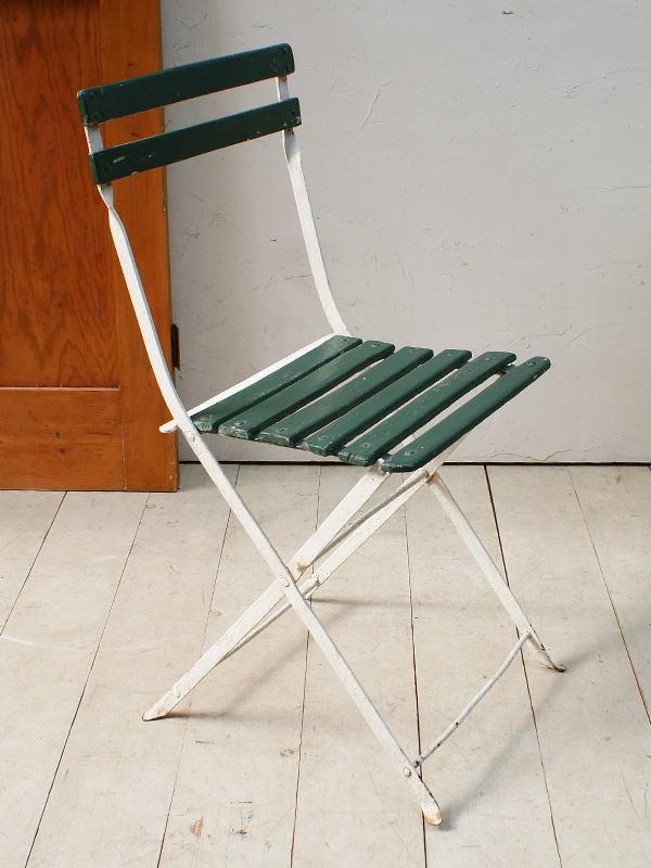 フレンチ アンティーク フォールディング ガーデンチェア 椅子 ガーデニング 5085