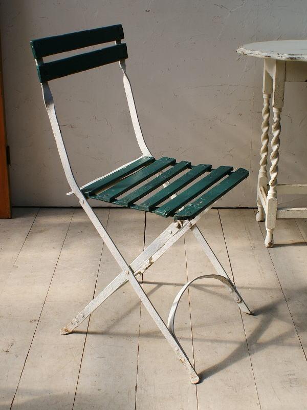 フレンチ アンティーク フォールディング ガーデンチェア 椅子 ガーデニング 5086