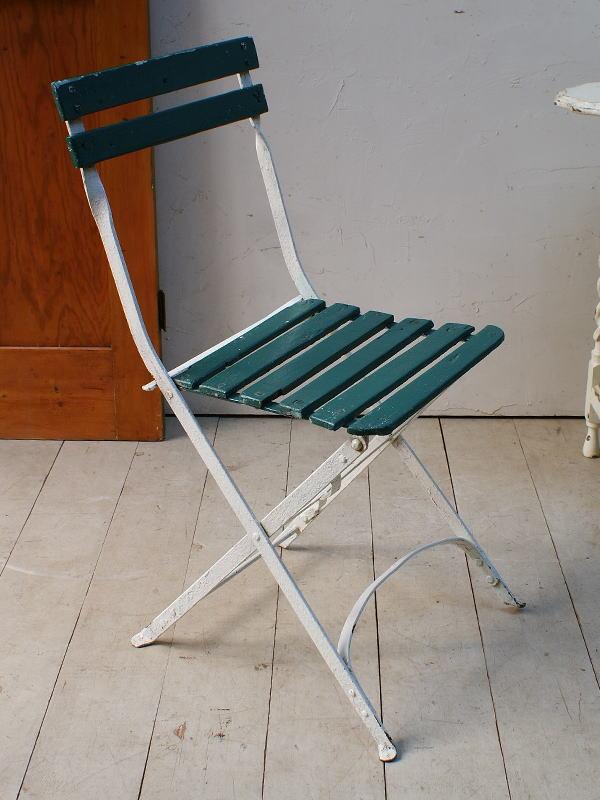 フレンチ アンティーク フォールディング ガーデンチェア 椅子 ガーデニング 5087