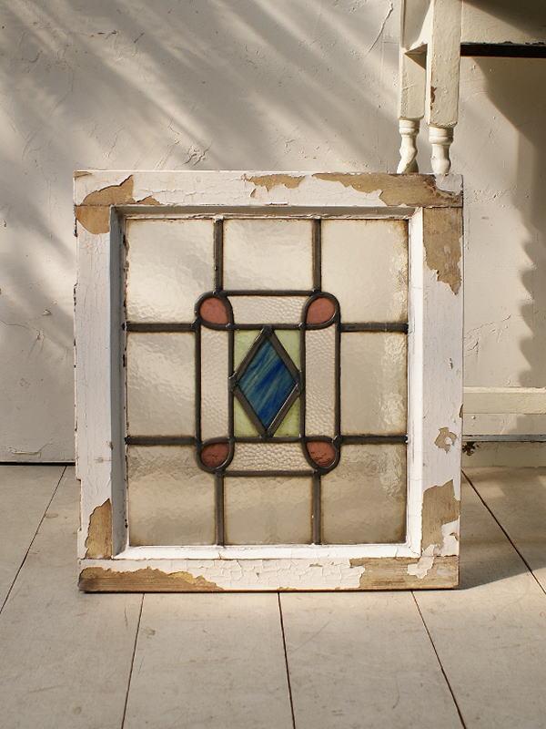 イギリス アンティーク ステンドグラス 幾何学 5099