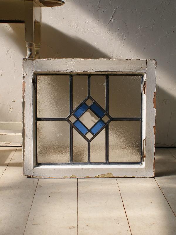 イギリス アンティーク ステンドグラス 幾何学 5111
