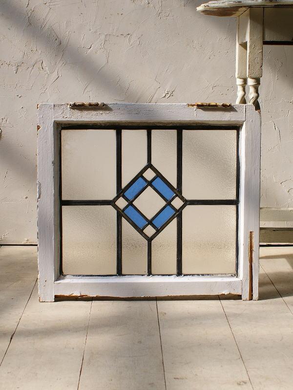 イギリス アンティーク ステンドグラス 幾何学 5112