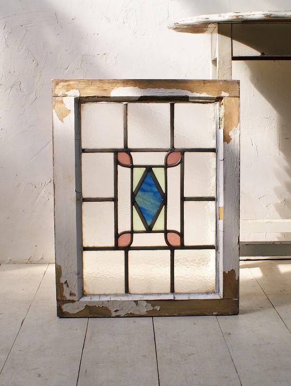 イギリス アンティーク ステンドグラス 幾何学 5131