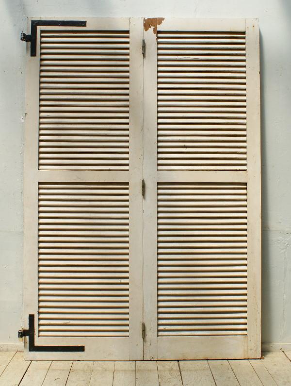 フレンチ アンティーク 木製ルーバー 雨戸 ディスプレイ 建具 5311