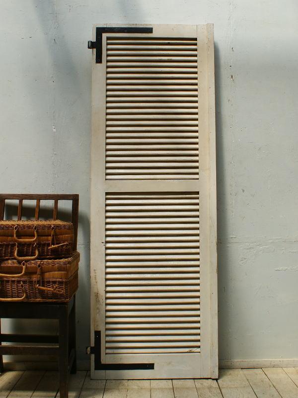 フレンチ アンティーク 木製ルーバー雨戸 ディスプレイ 建具 5313