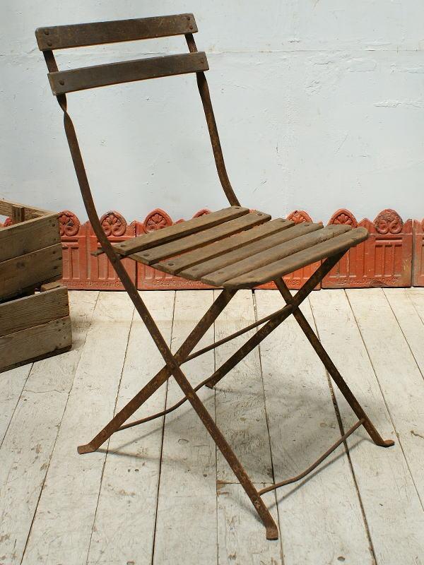 フレンチ アンティーク フォールディング ガーデンチェア 椅子 ガーデニング 5336