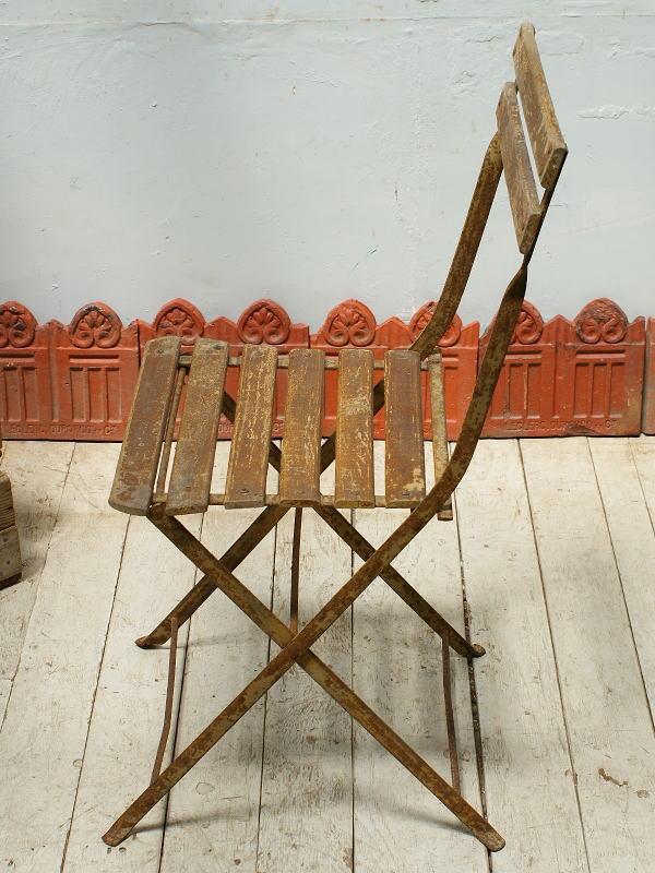 フレンチ アンティーク フォールディング ガーデンチェア 椅子 ガーデニング 5337