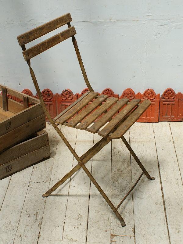 フレンチ アンティーク フォールディング ガーデンチェア 椅子 ガーデニング 5339
