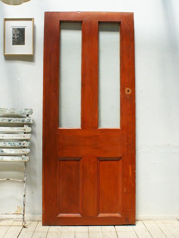 イギリス アンティーク ガラス入り木製ドア 扉 ディスプレイ 建具 5376