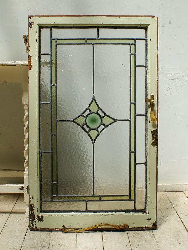 イギリス アンティーク ステンドグラス 幾何学 5385
