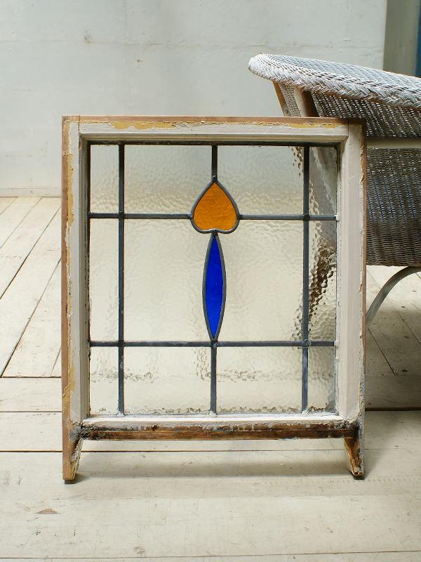イギリス アンティーク ステンドグラス 幾何学 5499