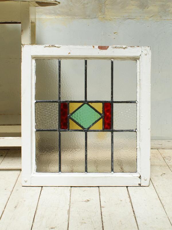 イギリス アンティーク ステンドグラス 幾何学  5540
