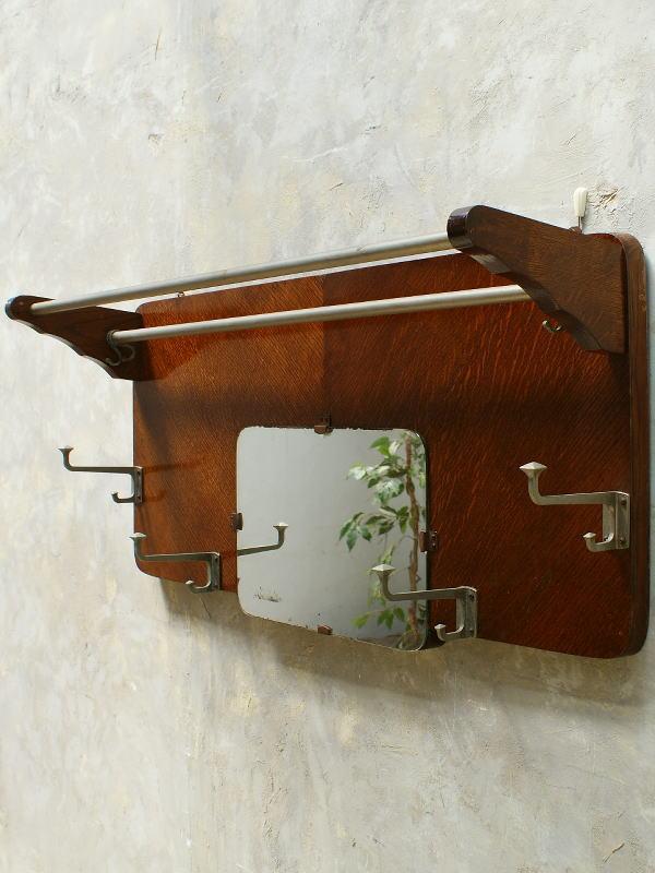 フレンチ ヴィンテージ フック&ラック付き 壁掛けルームミラー 5594