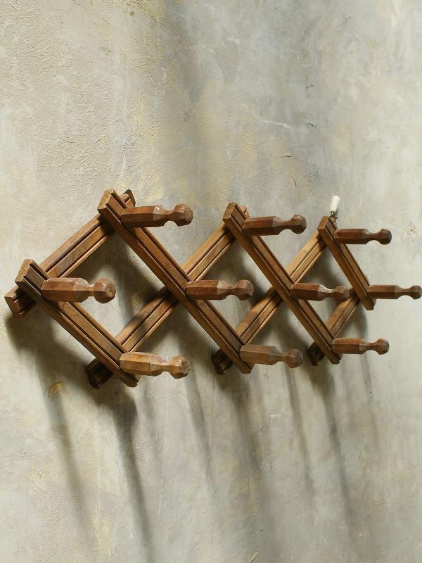 フレンチ アンティーク 木製コート&ハットフック 5621