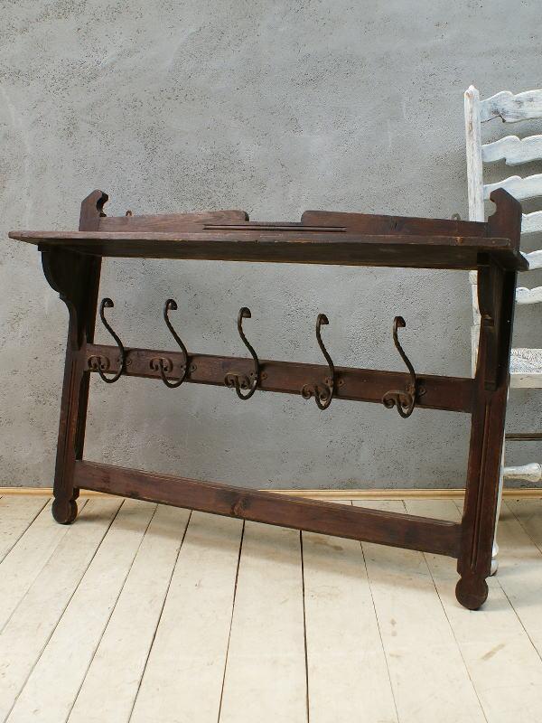 フレンチ アンティーク 木製ラック付きコートフック ディスプレイ 5975
