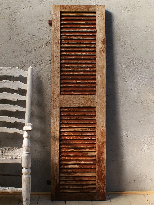 フレンチ アンティーク 木製ルーバー雨戸 ディスプレイ 建具 5995